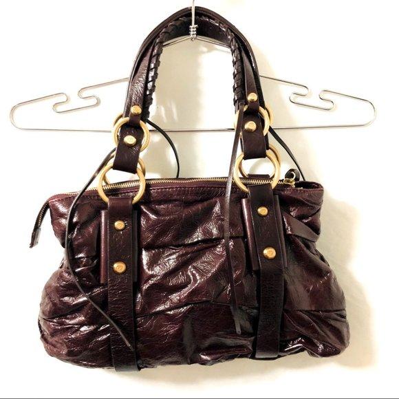 Francesco Biasia Burgundy Leather Shoulder Bag